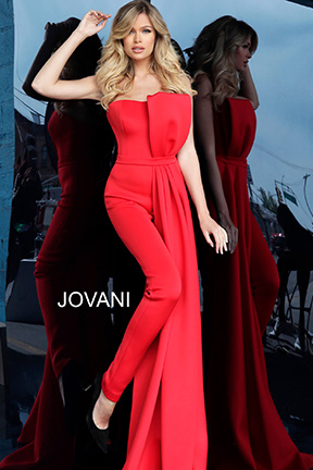 Jovani red strapless pant suit