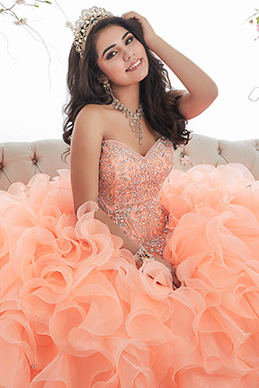 House of Wu peach Quinceranera Gown