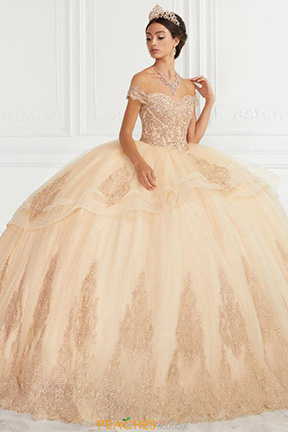 Quinceanera Gown in gold by House of Wu