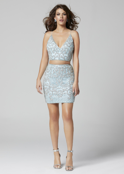 Primavera two piece homecoming dress in light blue style 3321