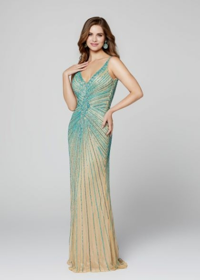 Primavera prom dress in nude and turquoise style 3459
