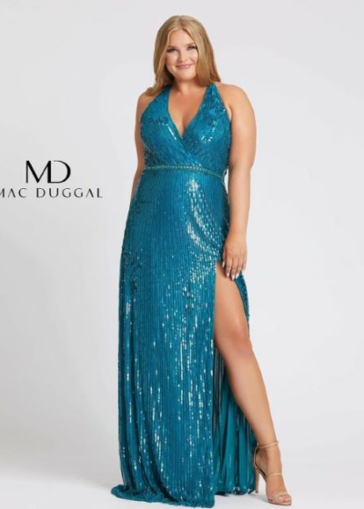 Mac Duggal Plus Size 4919F teal Long Gown