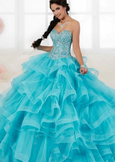 House of Wu multi layer aqua Quinceanera Gown