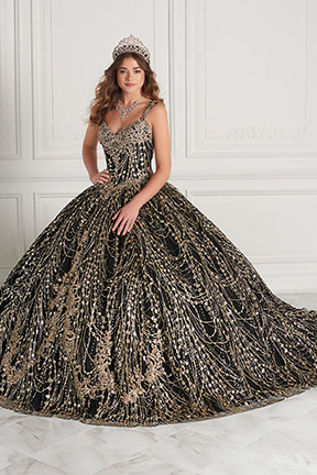 Quinceanera Gown House of Wu in black with gold sequins