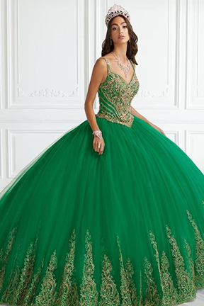 Quinceanera Gown House of Wu in forest green