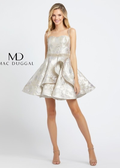 Mac Duggal homecoming dress in porcelain gold style 67029D