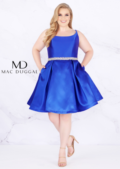 Mac Duggal plus size homecoming dress in royal style 67605F