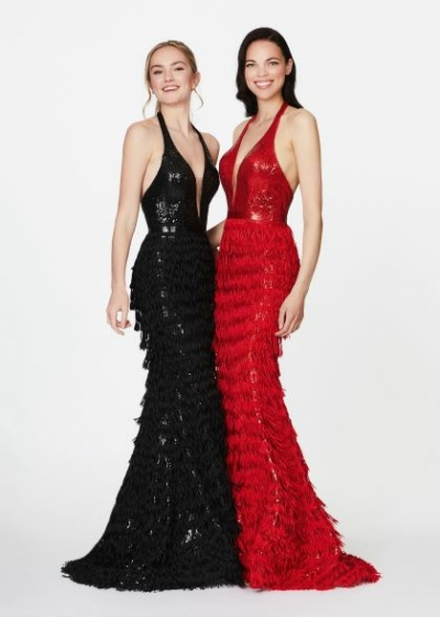 Angela and Alison 20020 black or red fringe gown