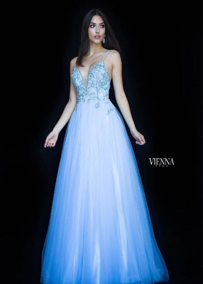 Viena Gown in light blue with spaghetti straps