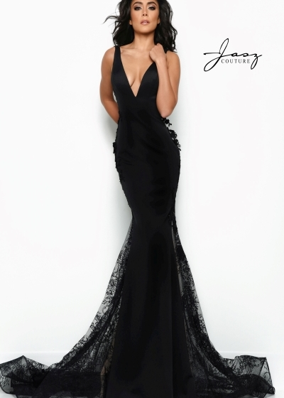 Jasz Couture Gown in black with a v neckline