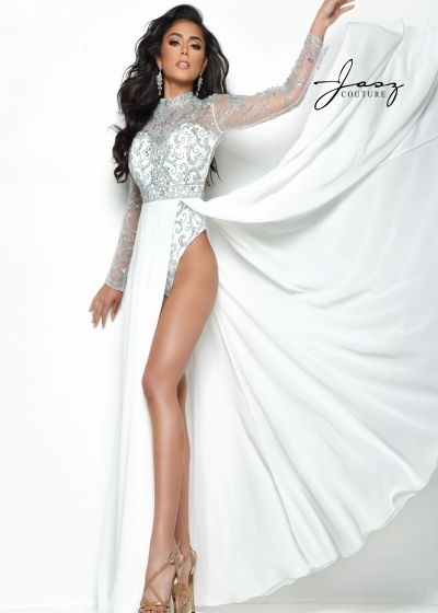 Jasz Couture Romper in white with fully beaded bodysuit