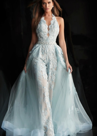 Jovani Pant Suit in baby blue